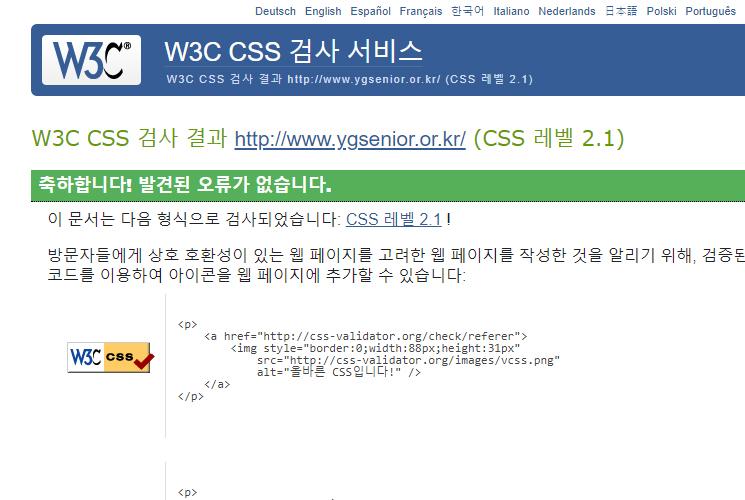W3C CSS 검사 결과 CSS레벨 2.1